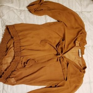 """Pumpkin spice"" sheer shirt with bow"